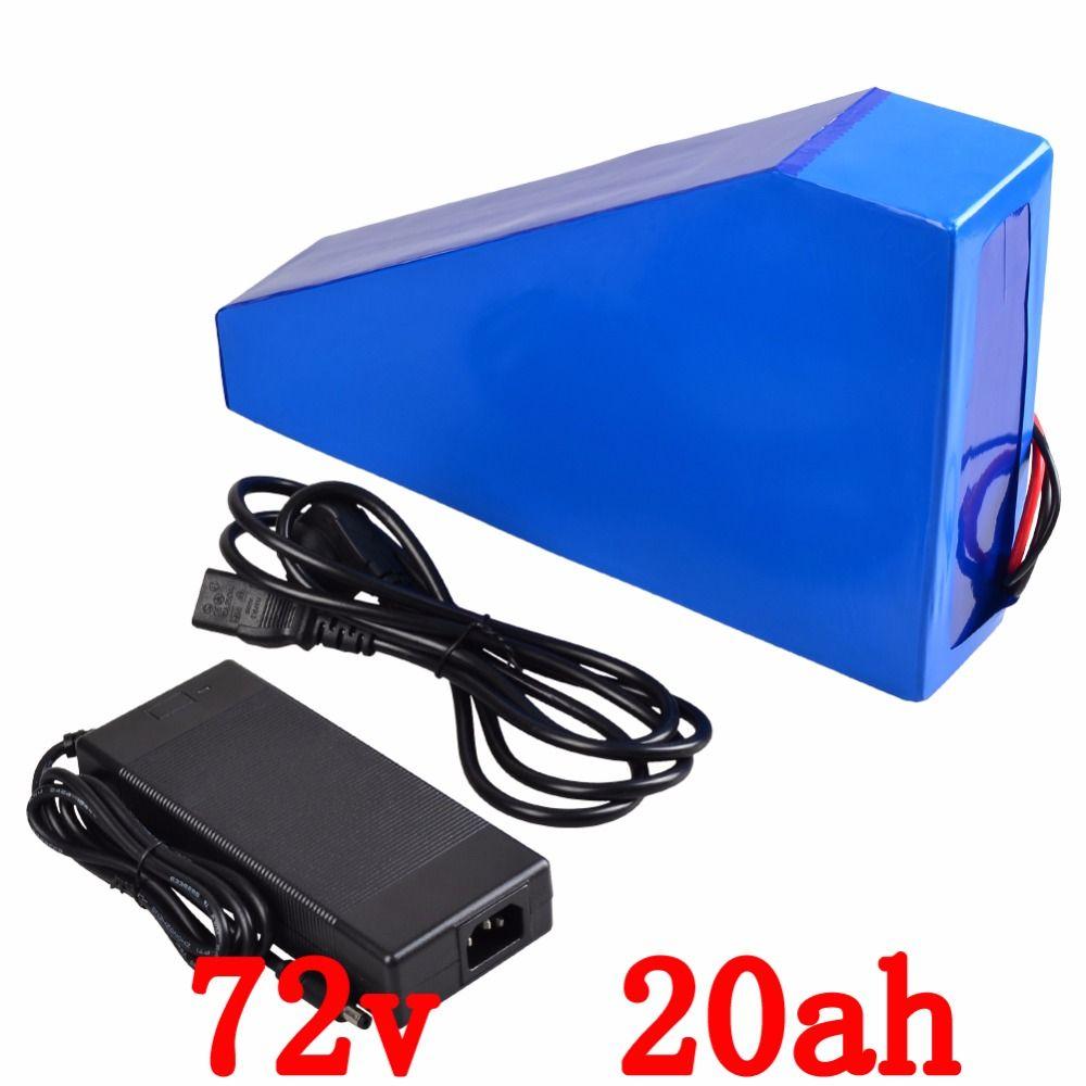 72 v 3000 watt elektrische fahrrad Batterie 72 v 20AH Für Panasonic NCR18650 zelle Dreieck lithium-batterie mit 50A BMS + tasche + ladegerät
