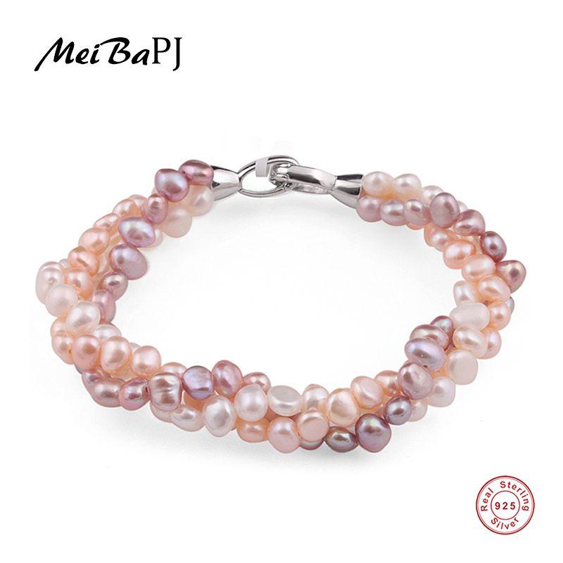 MeiBaPJ Naturel Mixte Couleur Perle Bracelet Fait Main Pur Bracelet Perle D'eau Douce Avec Réel 925 Argent Fermoir Beaux Bijoux SL-113