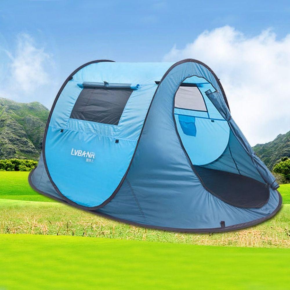 Schnell Automatische Eröffnung Wasserdichte 210 T Polyester 2 Menschen Outdoor Camping Wandern Zelt Reise Klettern Zelt Blau Mit Montage