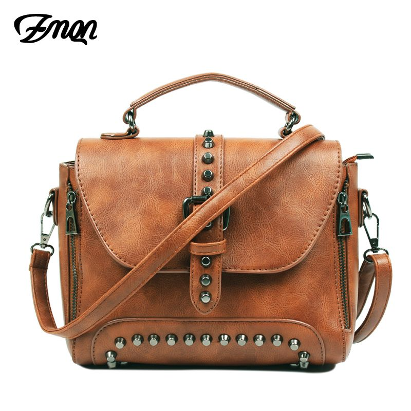 ZMQN Crossbody Bags For Women Messenger Bags 2018 Vintage Leather Bags Handbags Women Famous Brand Rivet Small Shoulder Sac A522
