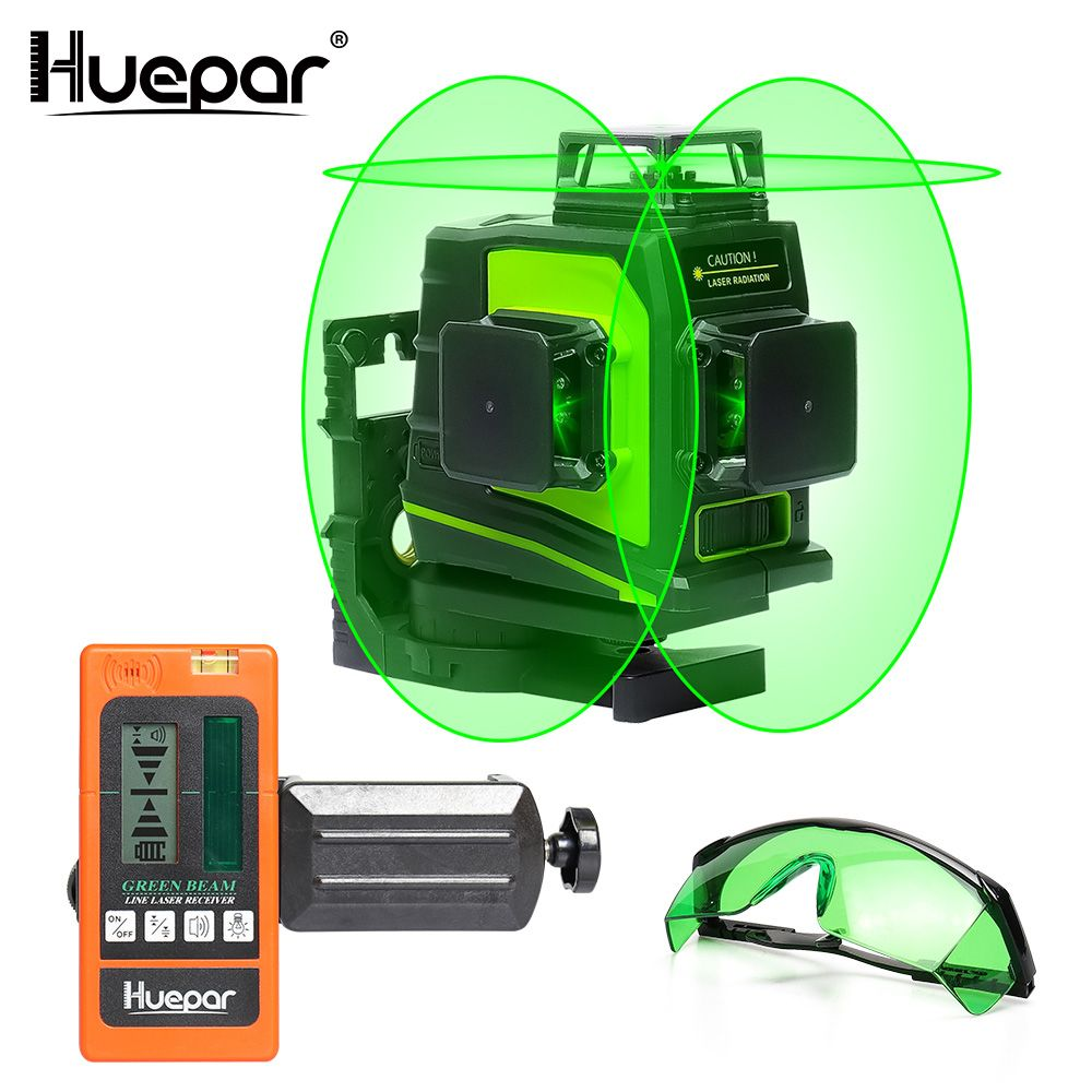 Huepar 12 Lines 3D Green Cross Line Laser Level Self-Leveling 360 Degree Vertical & Horizontal Glasses Receiver USB Charging