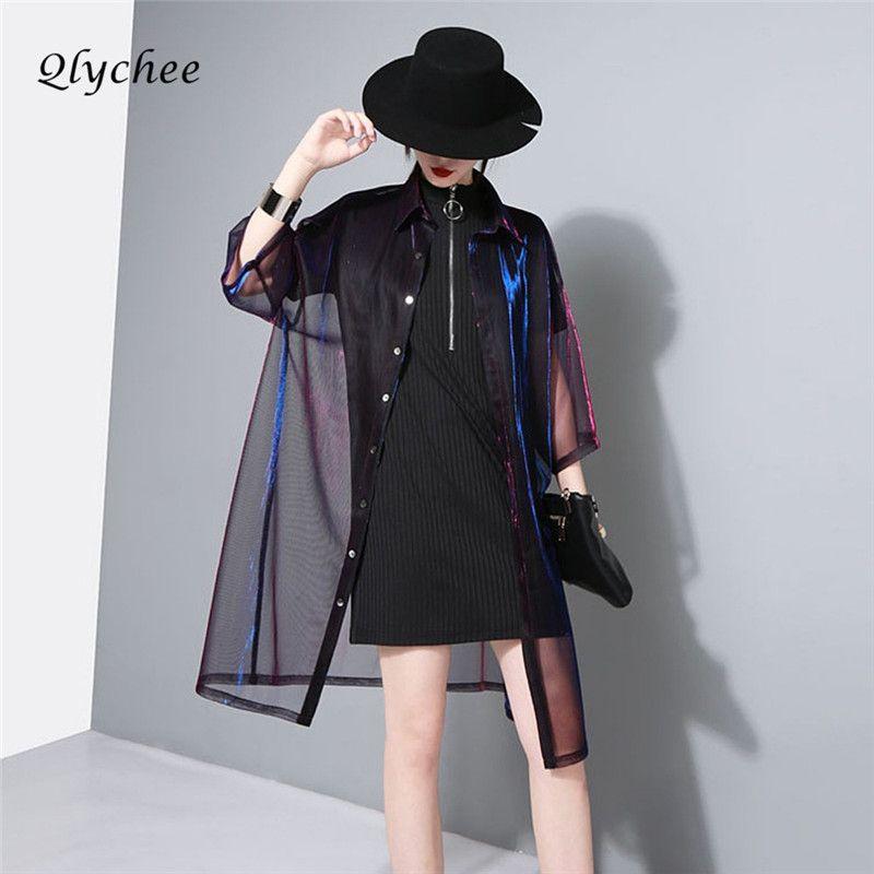 Qlychee длинные Блузки для малышек лазерной блестящие прозрачной сетки лазерной с длинным рукавом Повседневное Femme блузка Топы корректирующие...