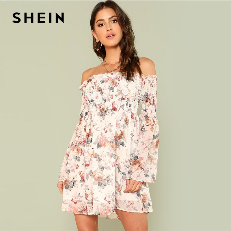 SHEIN Trumpet Sleeve Floral Smock Dress 2018 Summer Long Sleeve Off the Shoulder Dress Women Print A Line Beach Dress