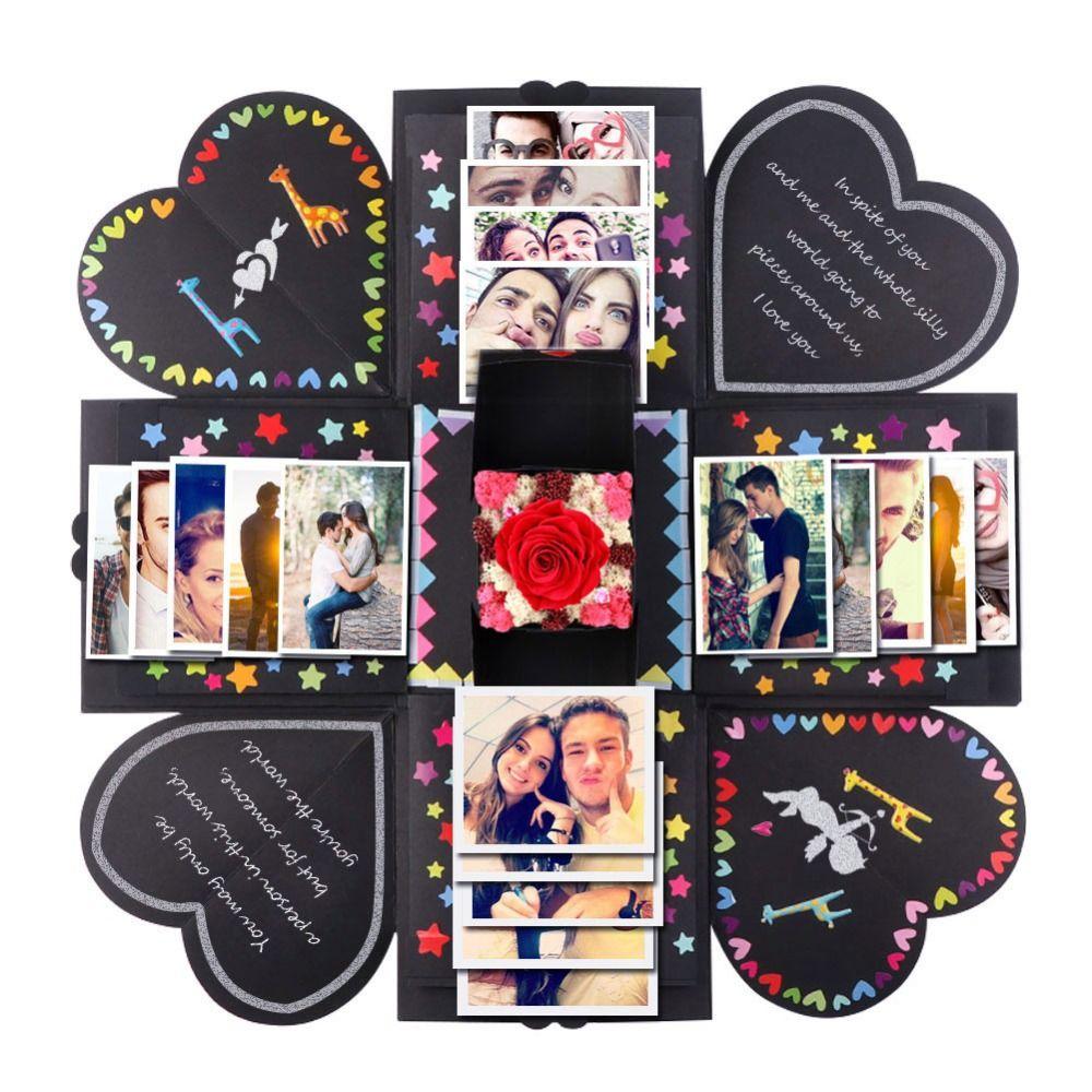 Haute qualité bricolage Surprise amour Explosion boîte cadeau Explosion pour anniversaire Scrapbook bricolage Photo Album cadeau d'anniversaire 15x15x15cm
