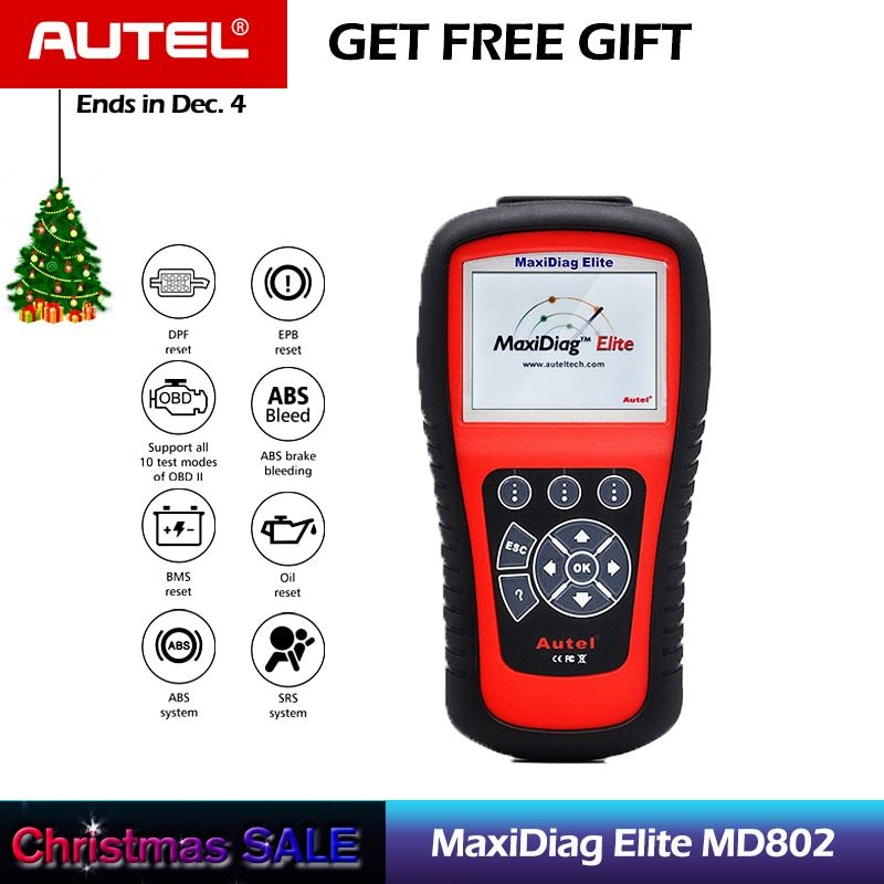 AUTEL MaxiDiag Elite MD802 All System Auto Code Reader Scanner for ABS/SRS/Engine/Transmission/EPB/Oil Reset Diagnostic Tool