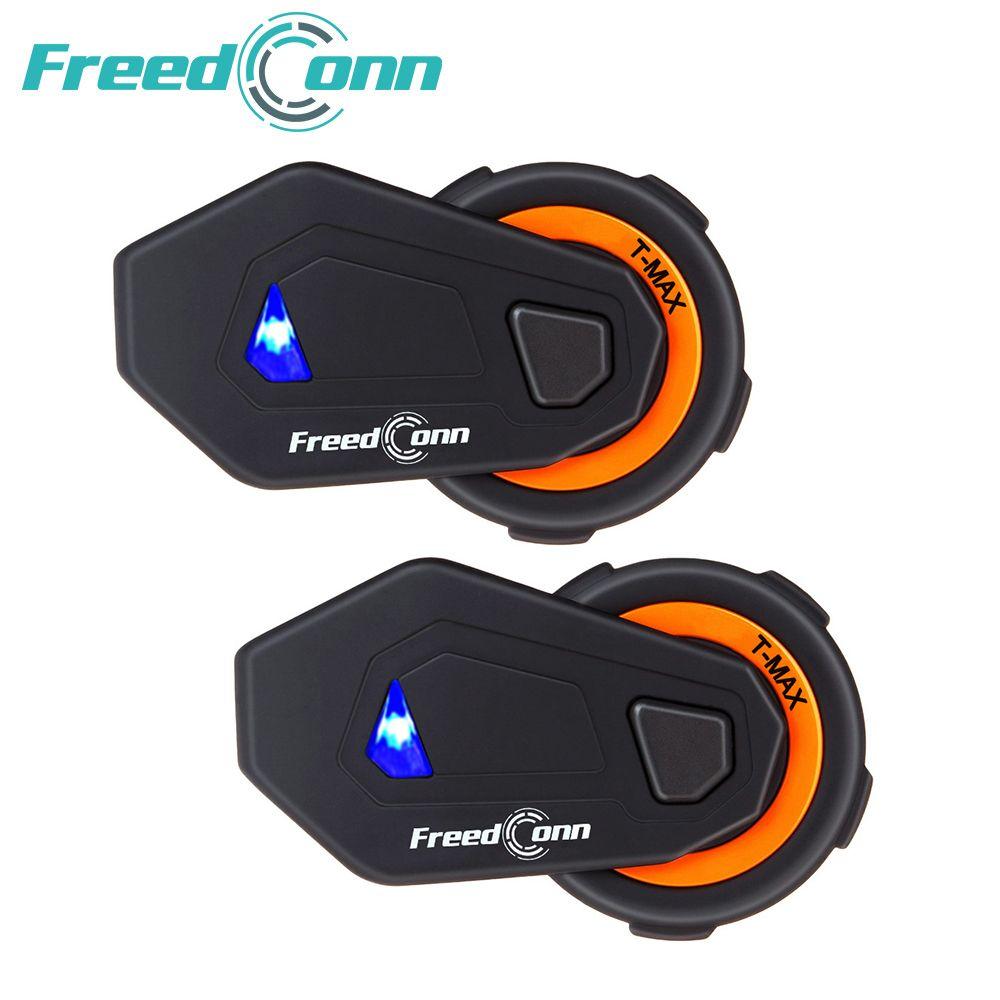 2 pcs T-MAX motorcycle helmet intercom 6 riders 1000M group intercom headset wireless BT interphone Bluetooth 4.1 FM Radio