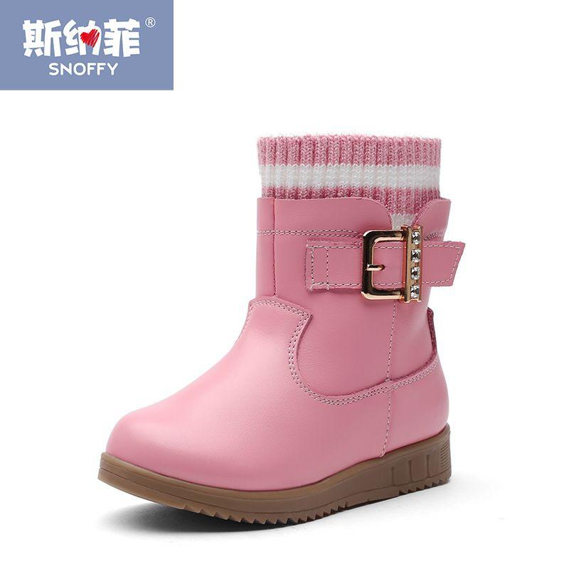Mode Marke Winter Schuhe Warme Plüsch Schneestiefel Für Mädchen Aus Echtem Leder Baby Stiefel Prinzessin Schuhe TX162