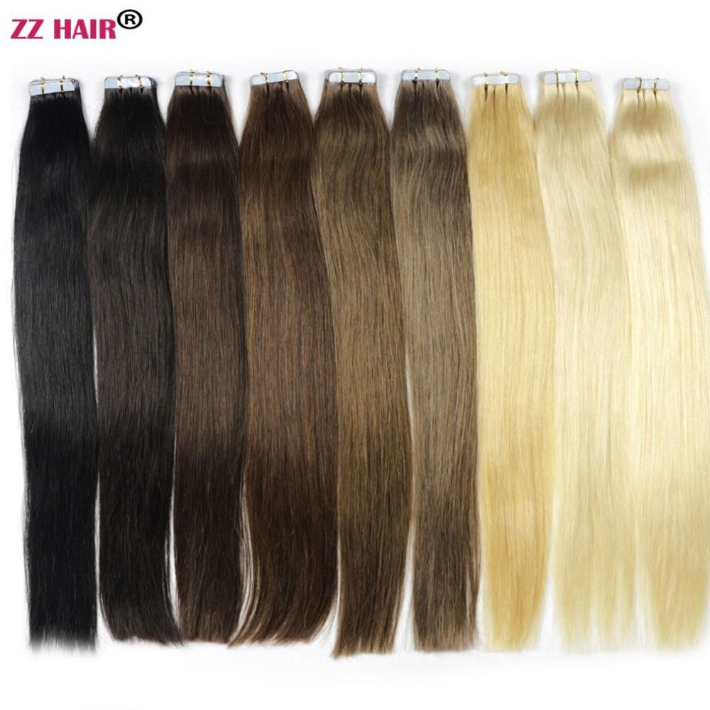 ZZHAIR 30g-70g 14 16 18 20 22 24 Machine Made Remy Tape Hair 100% Human Hair Extensions 20pcs/<font><b>pack</b></font> Tape In Hair Skin Weft