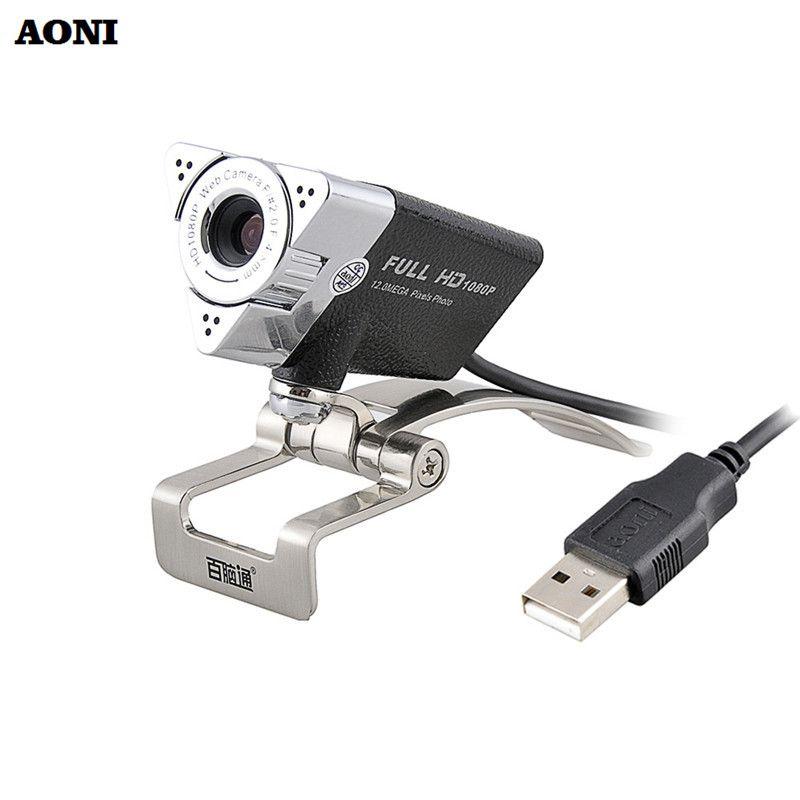AONI Webcam 1920*1080 HD Ordinateur Web Cam Pour Ordinateur Portable De Bureau Intelligent TV USB Plug et Jouer Bas-lumière Gain 1080 P Caméra Web Avec MIC