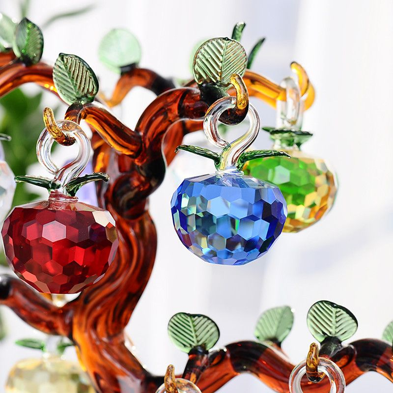 40mm New Year Chirstmas Tree Hanging Cut Crystal Glass Apple Ornaments decoration 2016 Navidad Curtains Home natal decorations