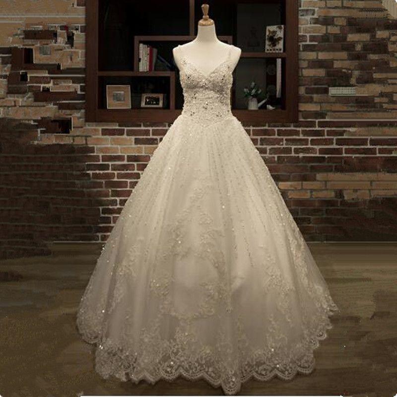 Luxus Vestido de Noiva Appliques Spitze Perlen Prinzessin Hochzeit Kleider 2018 v Neck Spaghetti-trägern Ballkleid Braut Kleid