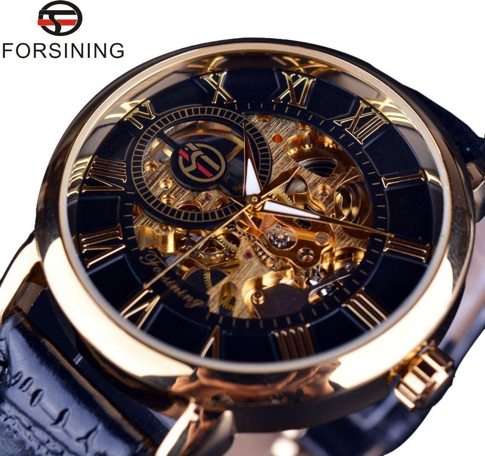 Forsining 3d Logo Conception Creux Gravure Noir Boîtier en Or En Cuir Squelette Mécanique Montres Hommes Marque De Luxe Heren Horloge