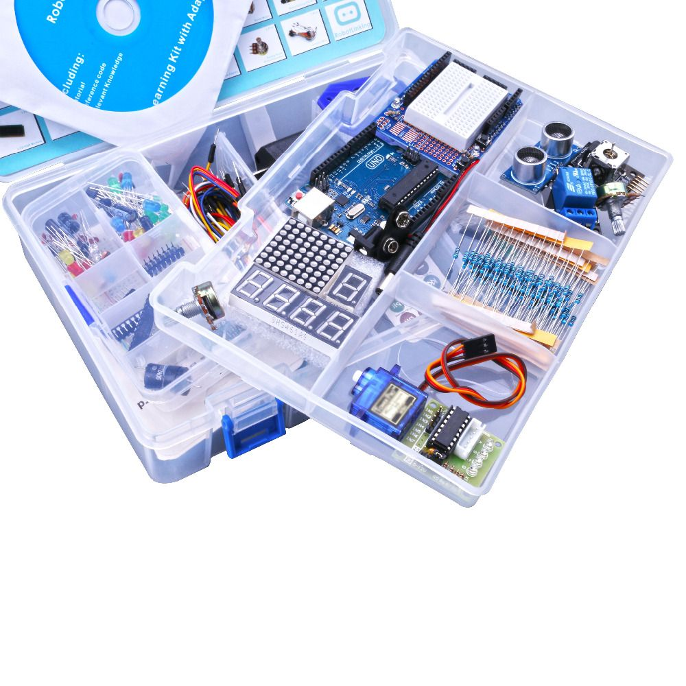 Ultimate Starter Kit for Arduino including Ultrasonic Sensor, UNO R3, LCD1602 Screen with UNO <font><b>Nano</b></font> with Plastic Box