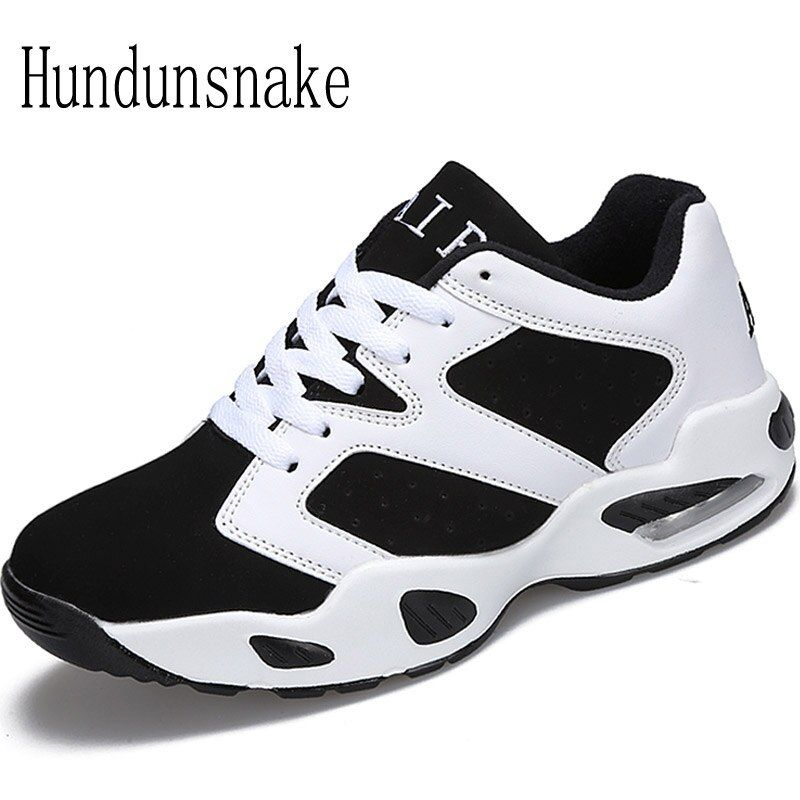 Hundunsnake Leather Sneakers Women Black Cushioning Running Shoes For Men 2017 Ladies Shoes Sports Female Krasovki Gumshoes T119