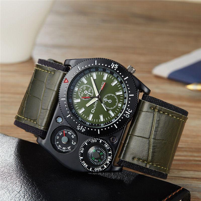 Oulm Sport montre-bracelet hommes Quartz militaire horloge large PU cuir boussole thermomètre décoration mâle montre-bracelet erkek kol saati