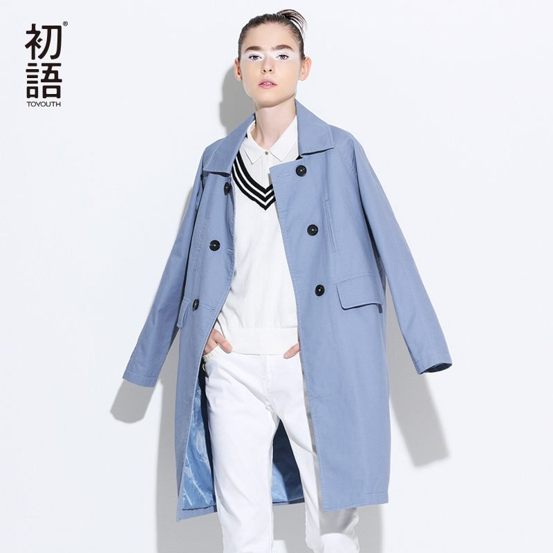 Toyouth Trench Coat 2017 Spring Women Turn Down Collar Coats Loose Straight Double-Breasted Overcoats