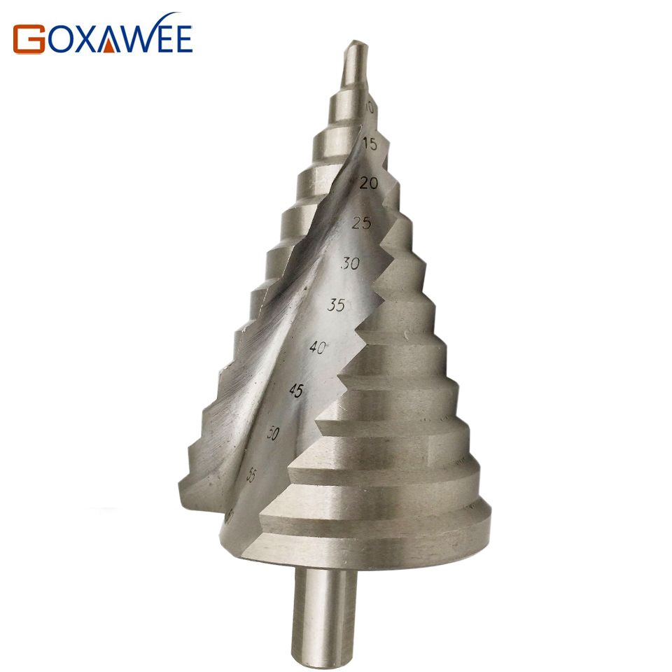 GOXAWEE Step Cone Drill Bits Hole Cutter Bit Set 6-60 mm Fluted Edges HSS Step Drill Bit Reamer Triangle Shank Wood Metal