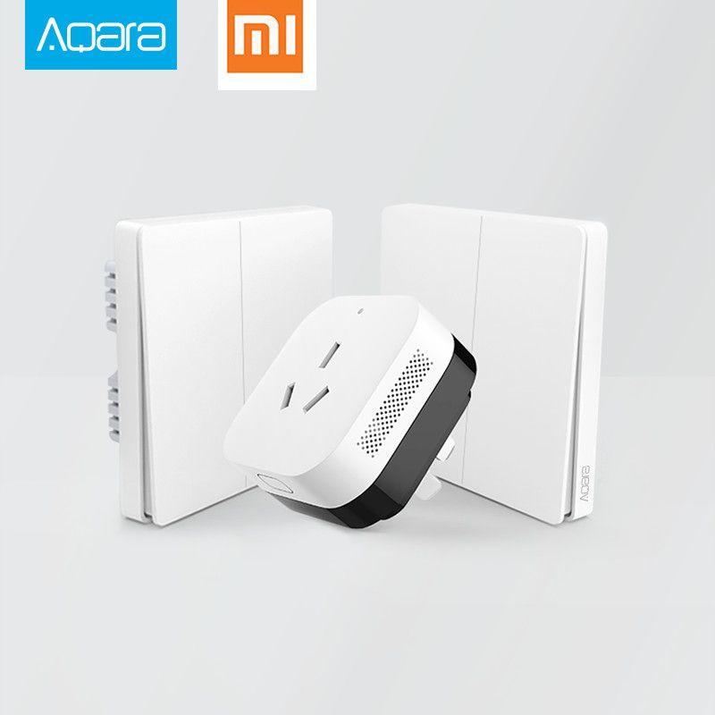 2017 Xiaomi Smart Home Gateway 3, Aqara contrôle intelligent de la lumière ZiGBee/Wifi sans fil clé et interrupteur mural Via Smarphone APP télécommande