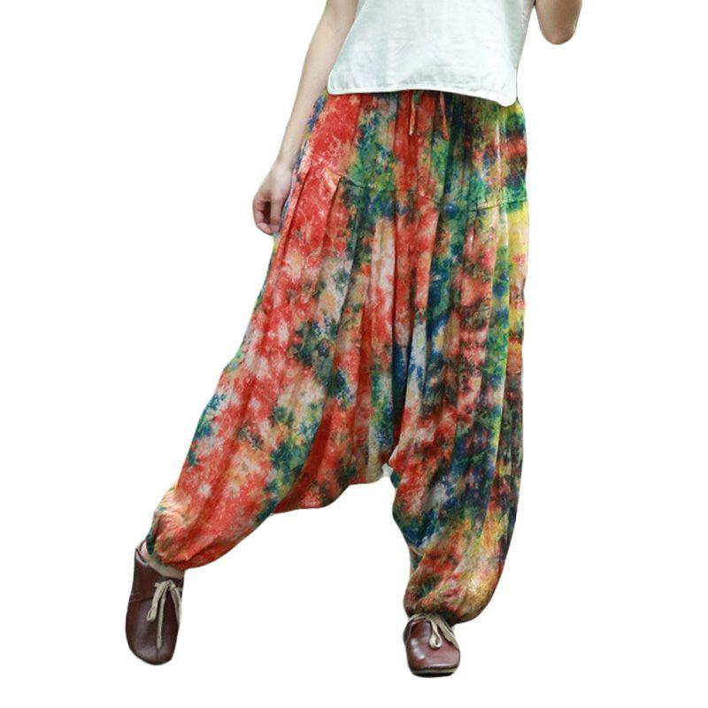 Hisenky Femmes Pantalon Occasionnel Femelle Pantalon Baggy Boho Harem Pantalon Large Jambe Défaites Smocks Casual Pantalon Loisirs Porter