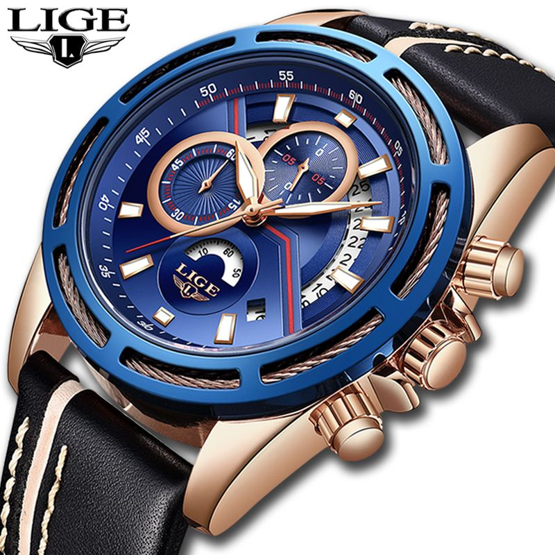 LIGE Mens Watches Top Brand Luxury Fashion Casual Sport Quartz Watch Men Waterproof Chronograph Military Watch Relogio Masculino