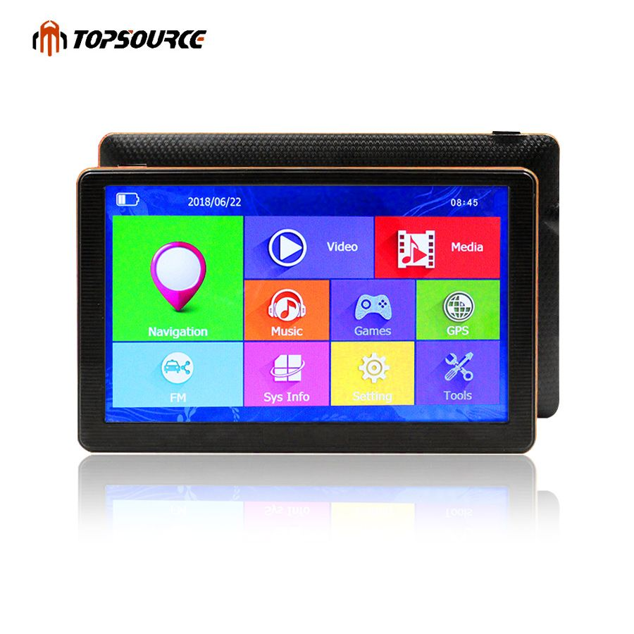 TOPSOURCE Car GPS Navigation HD 7 Inch Capacitive Screen FM Built in 8GB Map For Europe/USA+Canada Truck Vehicle GPS Navigator