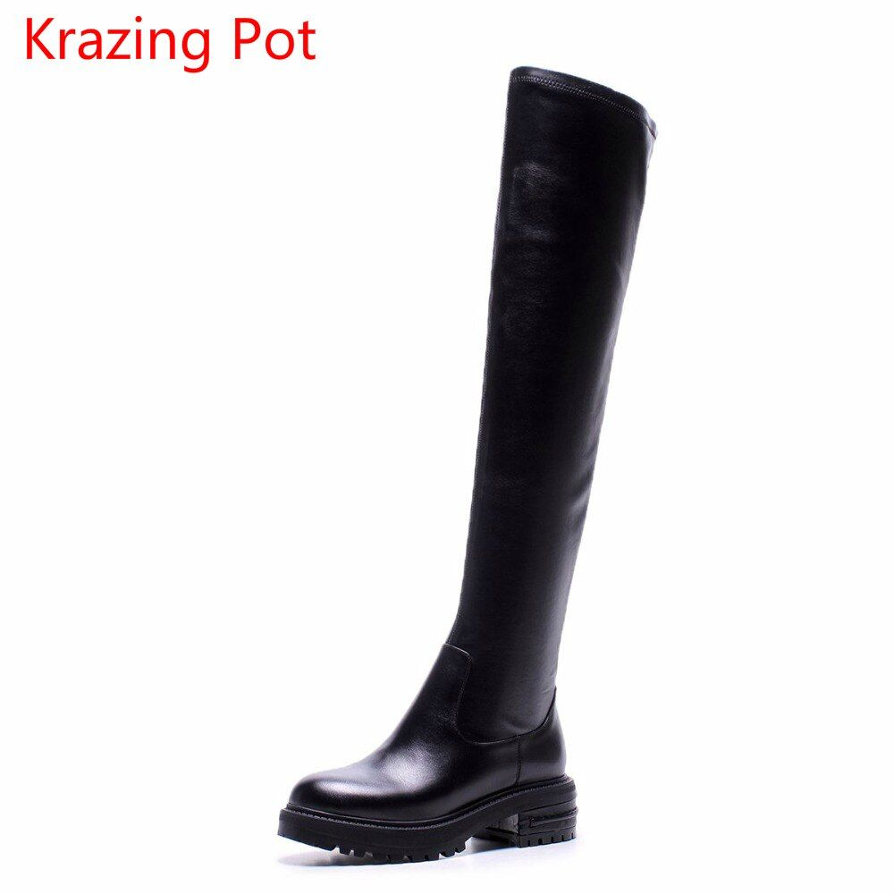 2018 Fashion Cow Leather Runway Platform Slip on Stretch Boot Thigh High Boots Big Size Riding Elegant Over-the-knee Boots L99