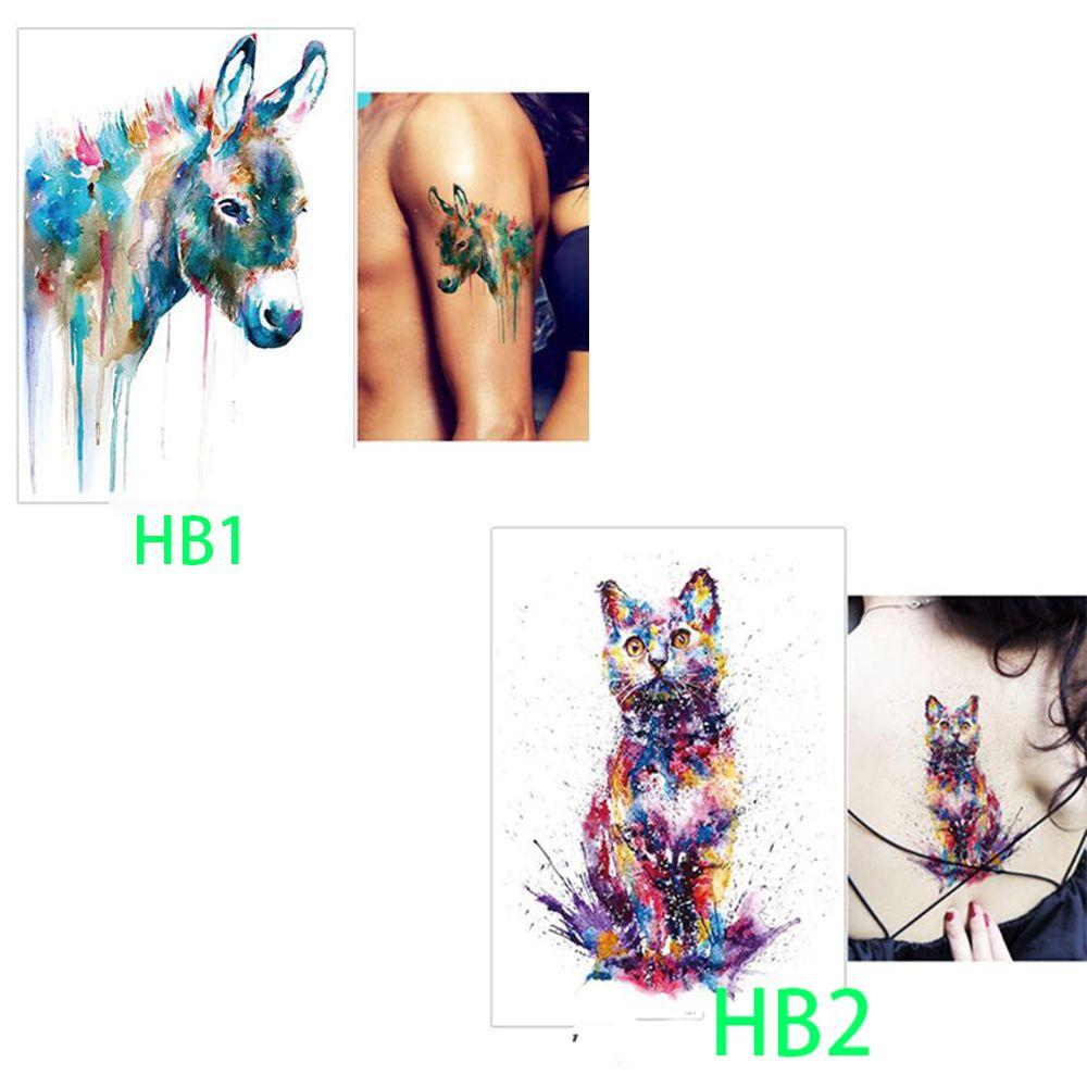 Aurelife Для тела Временные татуировки HB-1-2 кошка узор Для женщин Для мужчин цветок рука нога Книги по искусству Водонепроницаемый татуировки