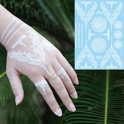 1 pc Trendy Bunga Palsu Tahan Air Tatoo Temporary WM-LS1006 Putih untuk Wanita Body Art Tattoo Henna Pendant Choker Perhiasan Stiker