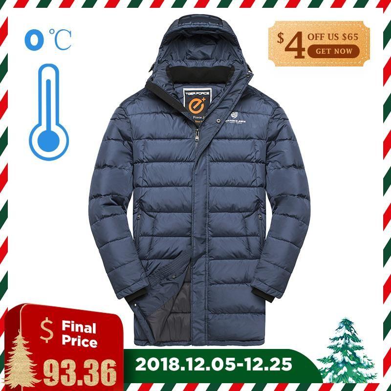 TIGER KRAFT 2018 Neue Männer Winter Jacke Mode Medium-Lange Padded Warme Mantel Beiläufige Mit Kapuze Puffy Mantel Männer Mantel große Größe