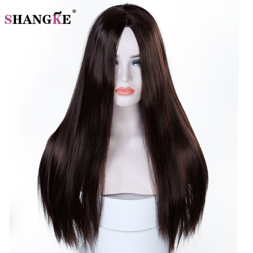 SHANGKE 22'' Long Straight Black Wig Women Hairstyles Heat Resistant Synthetic Wigs For Black Women African American Hairpieces