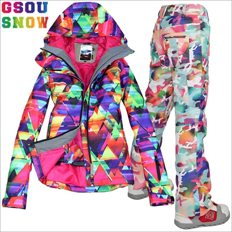 GSOU SNOW Brand Ski Suit Women Ski Jacket Pants Waterproof Snowboard Jacket Pants Winter Outdoor Snowboard Suits Sport Jackets
