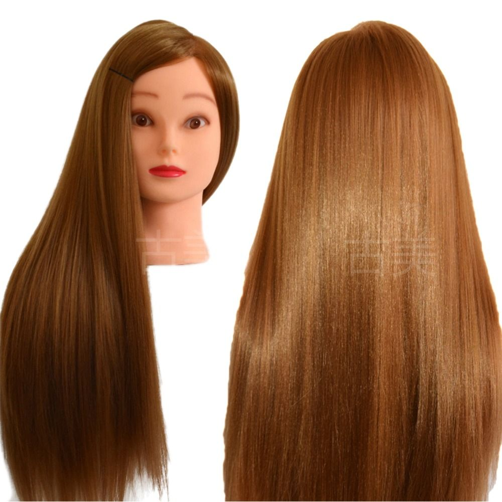Professional Styling <font><b>Nice</b></font> Mannequin Head with Thick Golden Hair Wig Head For Bridal Hairdo Dolls Head Training Head Dummy 70cm