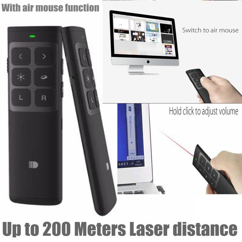 Doosl rouge Laser stylo pointeur Powerpoint Clicker Air souris Rechargeable RF 2.4 GHz sans fil télécommande présentateur projecteur