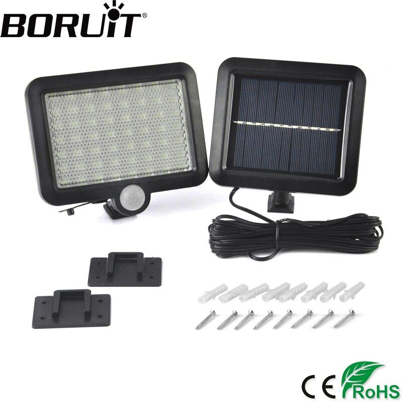 Boruit 56 LED Solar Powered Light with PIR Body Motion Sensor Lamp Outdoor Floodlights Garden Yard Spotlights Wall Lighting