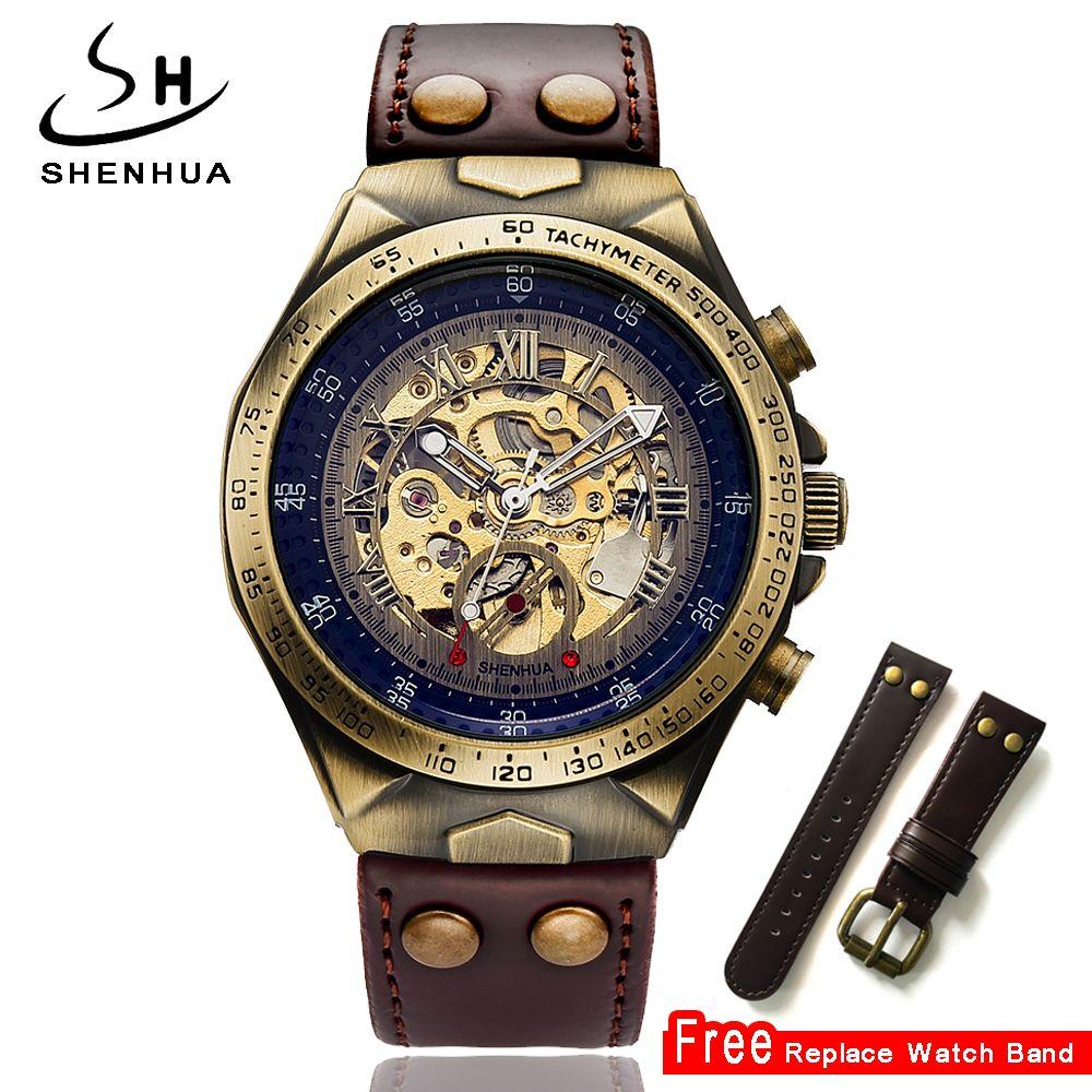 Skeleton Mechanical Watch Men Steampunk Automatic Watch Transparent Self Winding Mens Watches Retro Leather Clock Men Wristwatch