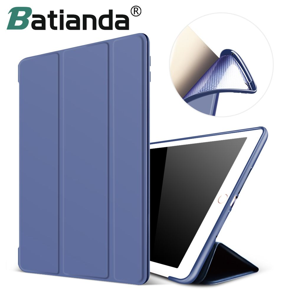 For New iPad 2017 iPad 9.7 Inch Case,Ultra Slim Lightweight Smart Case Trifold <font><b>Cover</b></font> Stand with Flexible Soft TPU Back <font><b>Cover</b></font>
