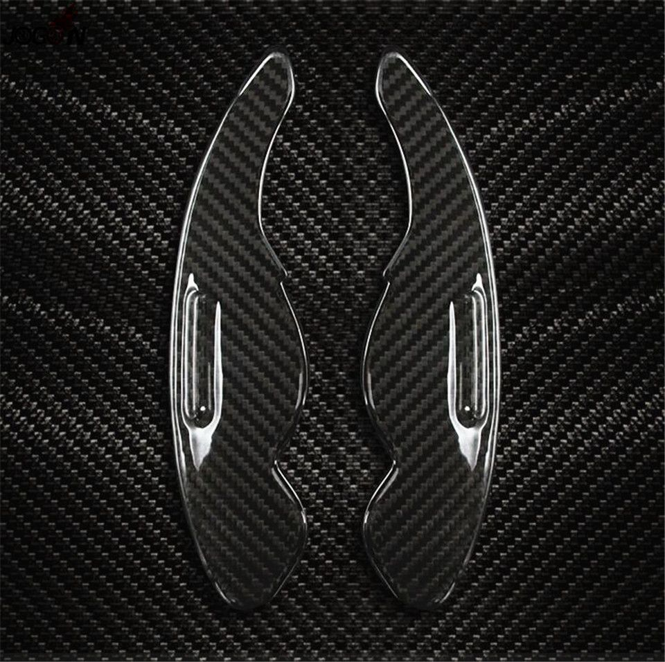 Carbon Fiber Steering Wheel Paddle Extension Shifter Cover Trim For Jaguar XE X760 2015 2016