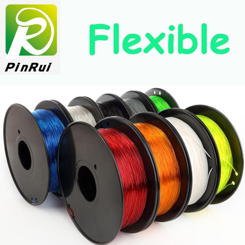 Haute quallity 3d imprimante filament flexible 0.8 KG/rouleau TPU PLA filament flexible 9 couleur flexible filament 1.75mm 3d imprimante