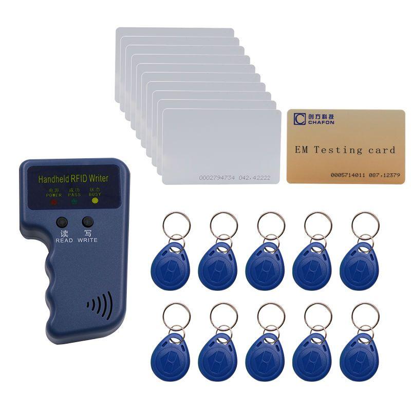 Handheld 125 Khz EM4100 RFID copier/writer/duplicator (T5557/T5577/EM4305) freie 10 stücke beschreibbare schlüsselanhänger und 10 stücke karten