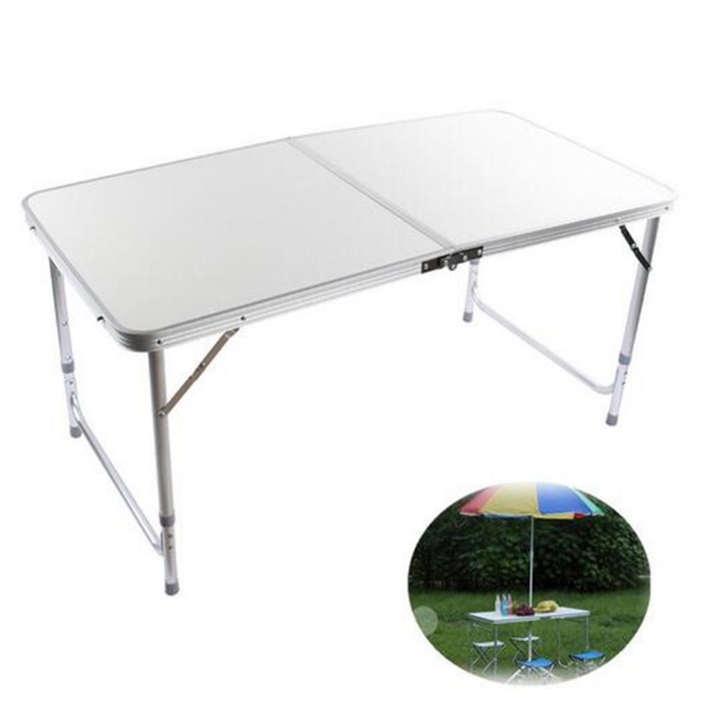 Silver Folding  Picnic Table 4FT Aluminum Folding Portable Camping Aluminum Table Picnic Party Outdoor BBQ Dining Furniture