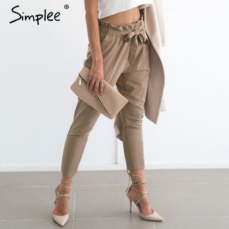 Simplee Apparel OL chiffon high waist harem pants Women stringyselvedge summer style casual pants female <font><b>2016</b></font> New black trousers