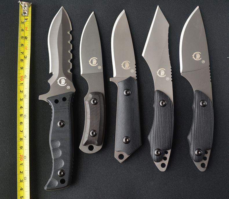 FBIQQ 5 modèles champ survie escalade très forte tactique de survie couteau droit haute en acier au carbone feuilles portent couteau + cadeaux
