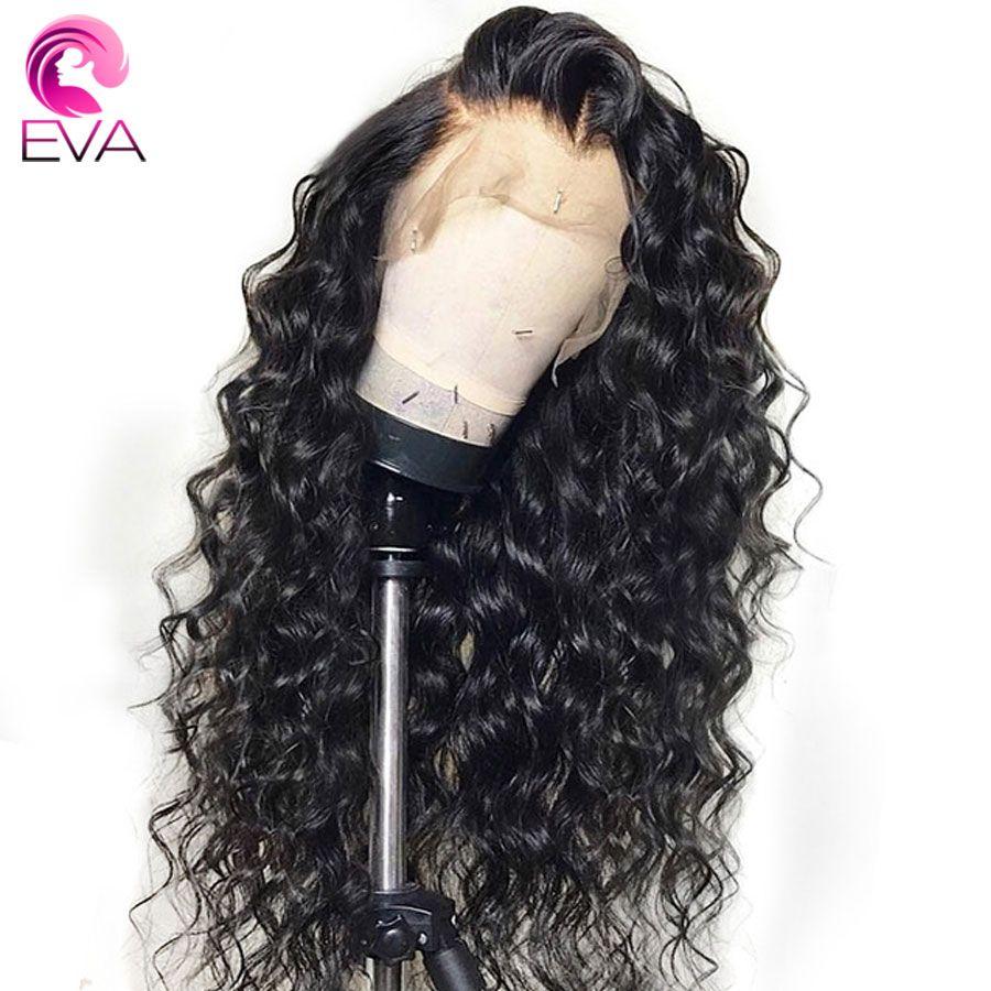 EVA sans colle dentelle avant perruques de cheveux humains pré plumé avec des cheveux de bébé brésilien Remy lâche bouclés dentelle avant perruques pour les femmes noires