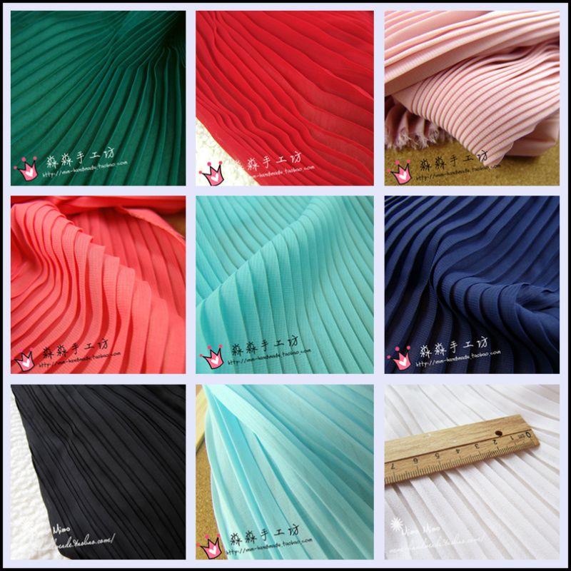Tissu plissé en soie robe en mousseline de soie plissée tissu de couleur unie