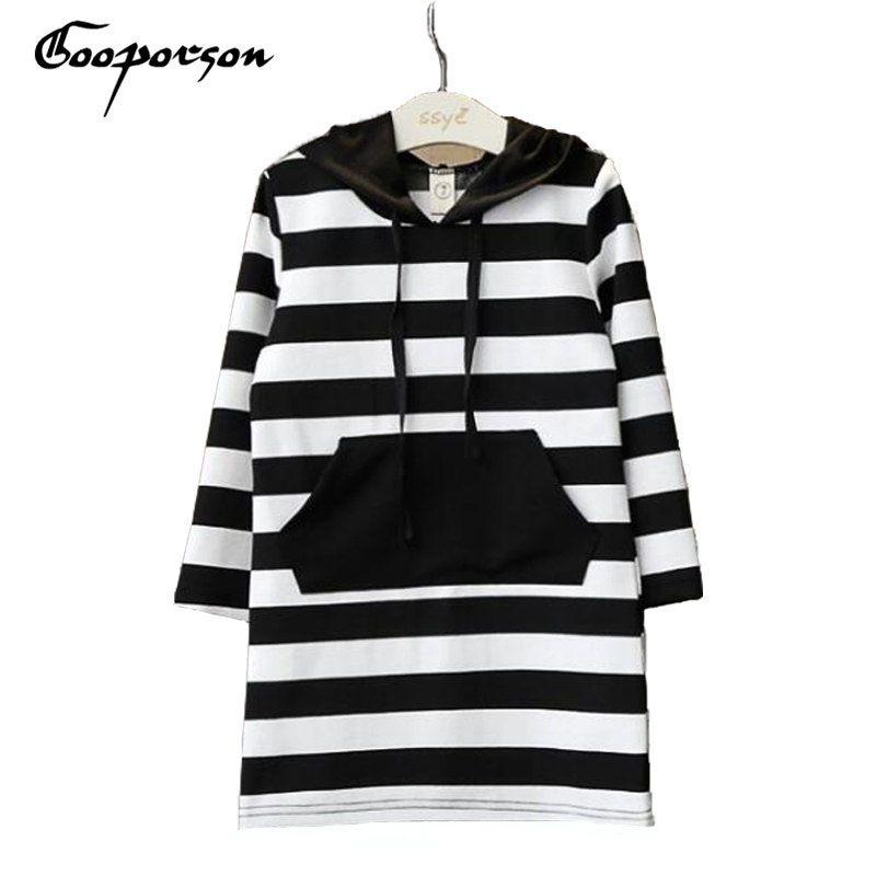 Vêtements pour enfants printemps marque noir blanc rayé à manches longues à capuche vierges robe pour filles enfants vêtements mignon tenue