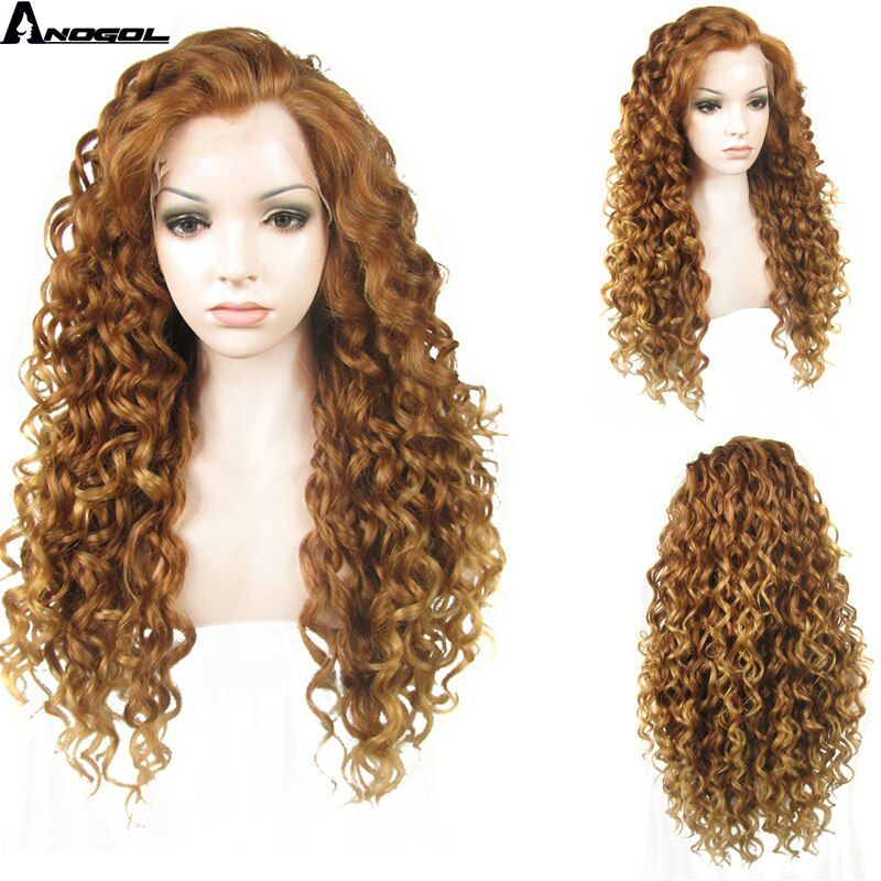 Anogol Free Parting Natural Long Kinky Curly Gold Blonde Widow Peak High Temperature Fiber Synthetic Lace Front Wig For Women