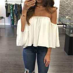 2017 New Arrival Summer T-shirt Fashion Women's Ladies Lace Off-shoulder Casual Tops T Shirt