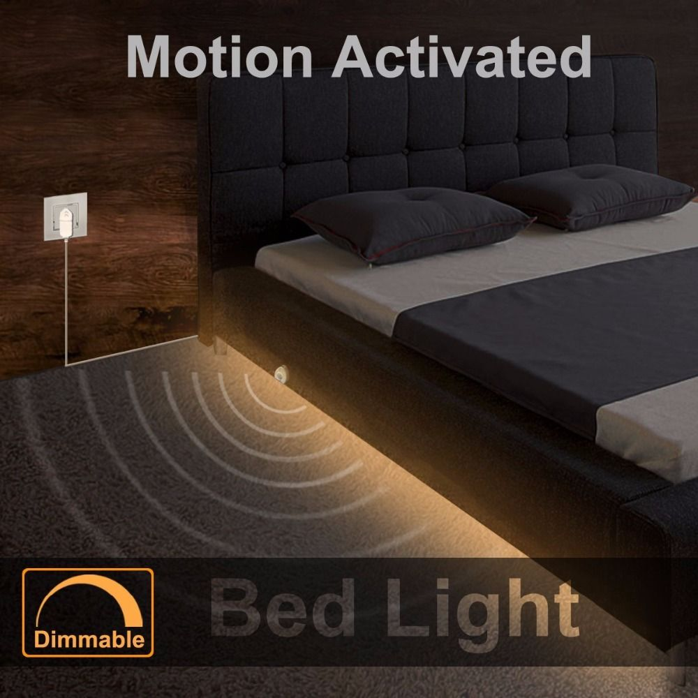 <font><b>Dimmable</b></font> Bed Light with Motion Sensor and Power Adapter, Under Bed Light Motion Activated LED Strip for Baby room Stairs Cabinet