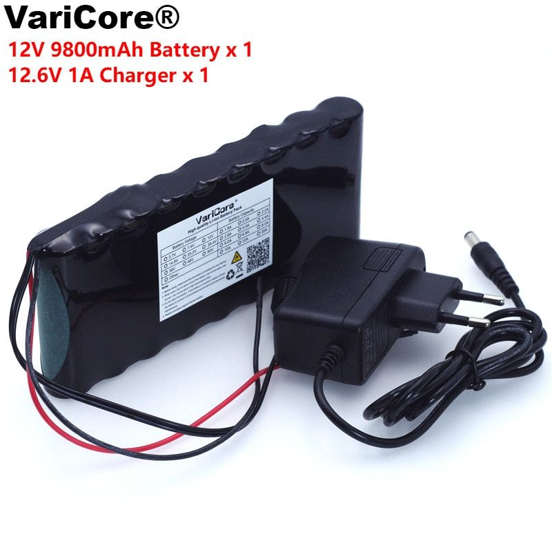 VariCore 12 v 9.8Ah 9800 mAh 18650 batterie Rechargeable 12 V panneau de Protection CCTV moniteur batterie + 12.6 V 1A chargeur