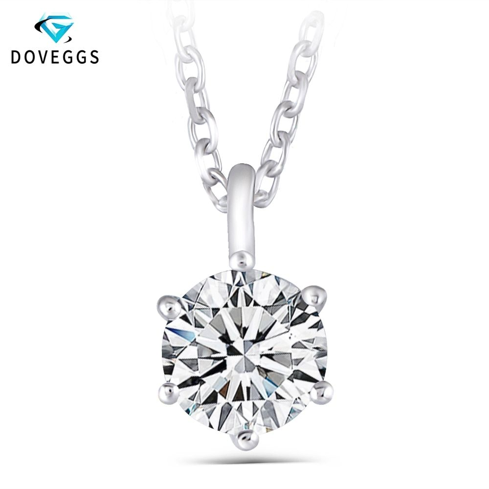 DovEggs Platinum Plated Silver Sterling 925 1.2CT 7MM GH Color Moissanite Slide Solitaire Pendant Necklace for Women Party Gift